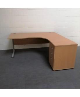 Beech right handed corner desk set with desk high pedestal- 1800 x 1200