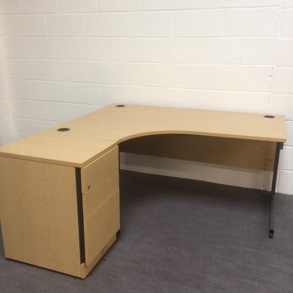 Oak left handed corner desk set with desk high pedestal- 1600 x 1200