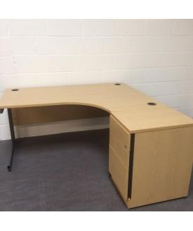 Oak right handed corner desk set with desk high pedestal- 1600 x 1200