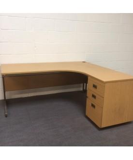 Oak right handed corner desk set with desk high pedestal- 1800 x 1200