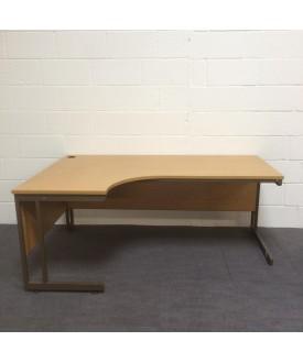 Oak left handed corner desk set with desk high pedestal- 1800 x 1200