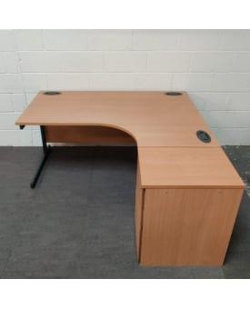 Beech right handed corner desk and desk high pedestal set- 1600 x 1200