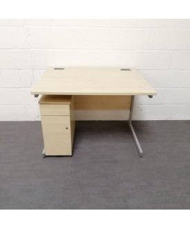Maple straight desk and pedestal set- 1000 x 800