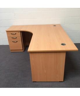 Beech left handed corner desk with desk high pedestal- 1800 x 1200