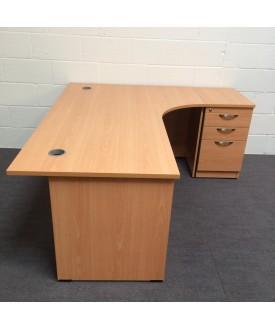 Beech right handed corner desk with desk high pedestal- 1800 x 1200