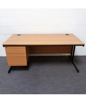Oak straight desk with attached pedestal- 1600 x 800