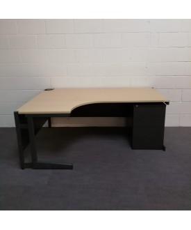 Maple left handed corner desk set with mobile pedestal - 1800 x 1200