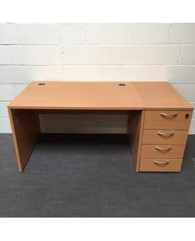 Beech straight desk and pedestal 1200 x 800