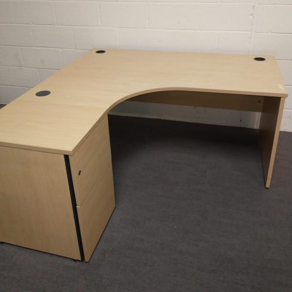 Maple left handed corner desk and desk high pedestal set- 1600 x 1200
