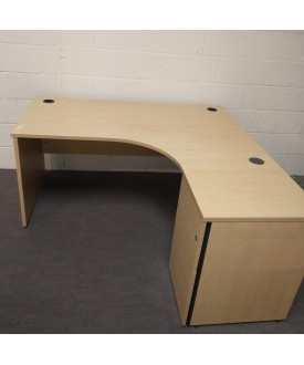 Maple right handed corner desk and desk high pedestal set- 1600 x 1200