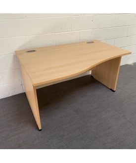 Light beech left handed wave desk- 1400 x 1000 x 800
