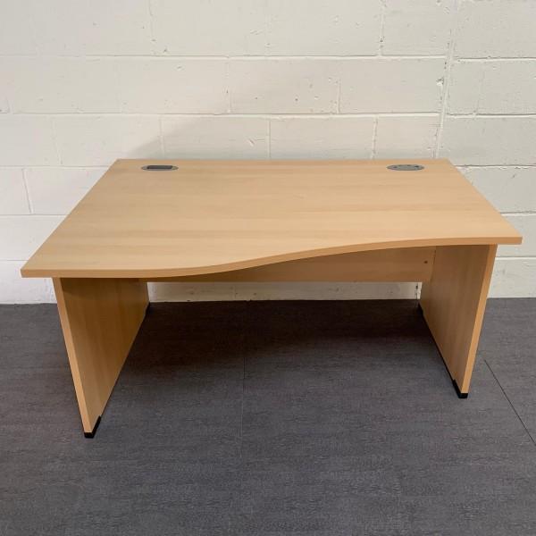 Light beech left handed wave desk- 1400 x 1000 x 800