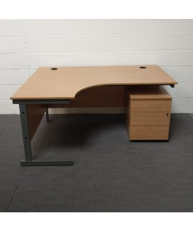 Oak left handed corner desk and mobile pedestal set- 1600 x 1200