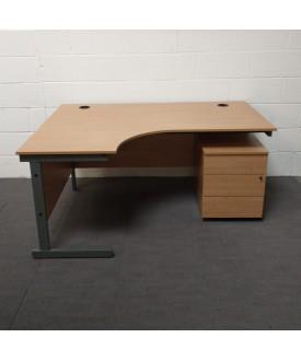 Oak left handed corner desk-1600 x 1200
