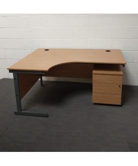 Oak left handed corner desk and mobile pedestal set- 1600 x 1200