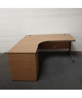 Oak left handed corner desk and desk high pedestal set- 1600 x 1200