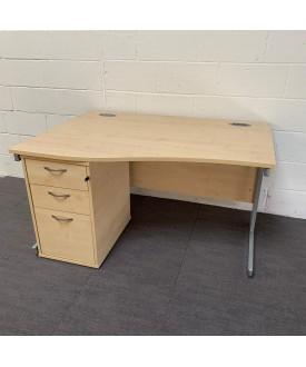 Maple left handed wave desk and pedestal set- 1400 x 800 x 990