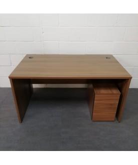 Walnut straight desk and mobile pedestal set- 1400 x 800