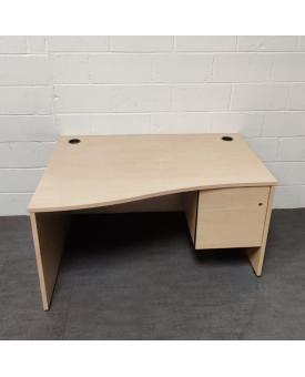 Maple wave left handed desk and pedestal set- 1400 x 800 x 1000