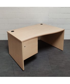 Maple wave right handed desk and pedestal set- 1400 x 800 x 1000- GRADE B