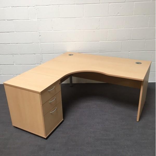 Beech left handed corner desk 1600 x 1200 (Pedestal not included)