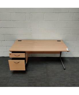 Light Beech Straight Desk and Pedestal Set- 1600 x 800
