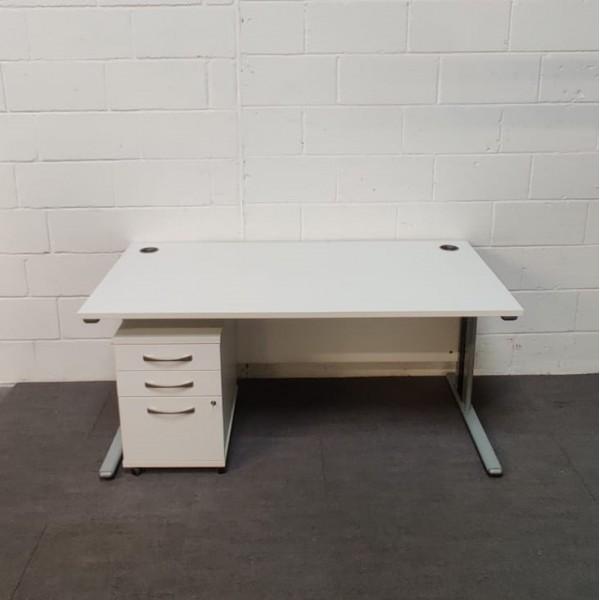 White Straight Desk and Pedestal Set - 1600 x 800