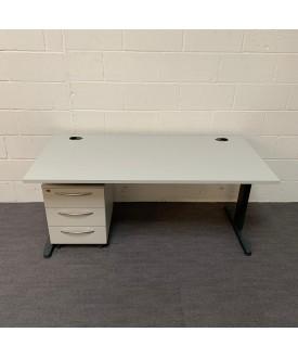 White straight desk and pedestal set- 1600 x 800