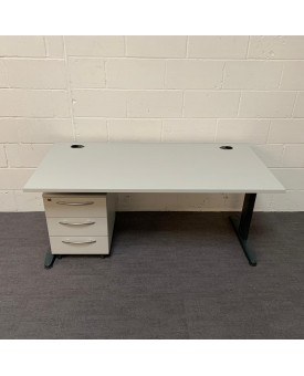 White straight desk and pedestal set- 1600 x 800