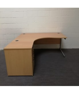 Beech left handed corner desk set - 1600 x 1200