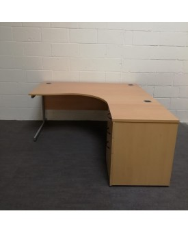 Beech right handed corner desk set - 1600 x 1200