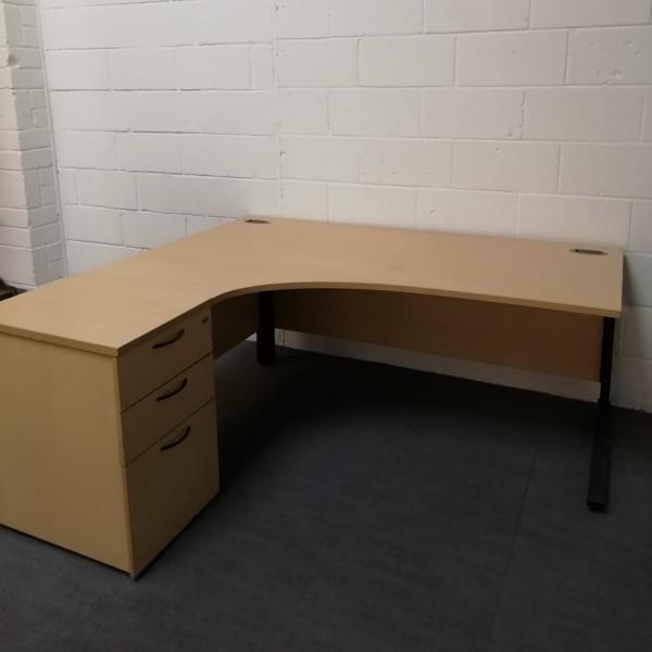 Beech left handed corner desk set - 1800 x 1200