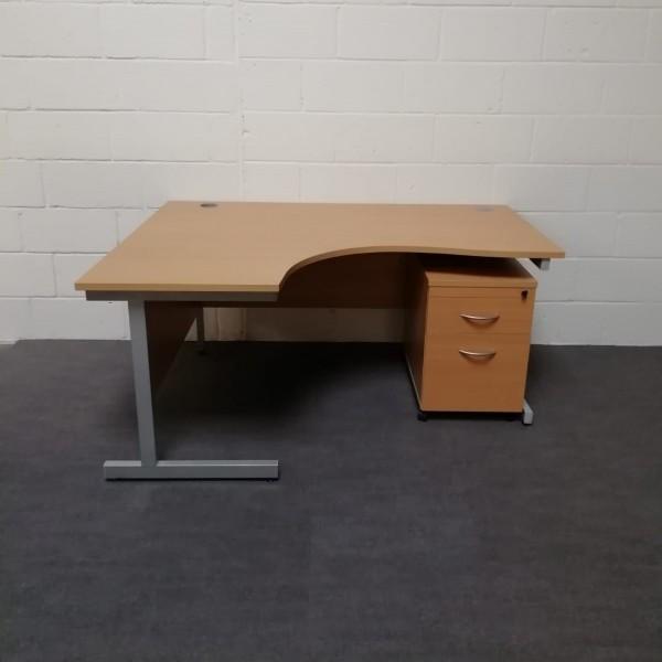 Beech left handed corner desk with mobile pedestal - 1600 x 1200