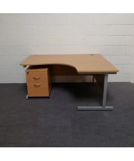 Beech right handed corner desk - 1600 x 1200