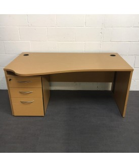 Oak left handed wave desk- 1600 x 970 (Ped not included)