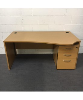 Oak right handed wave desk- 1600 x 970 (Ped not included)