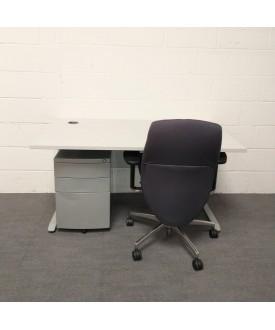 Light Grey Desk, Pedestal and Chair Bundle Set- 1400 x 800