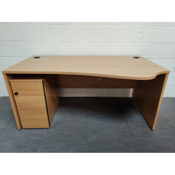 Oak wave right handed desk and pedestal set- 1600 x 800 x 1000