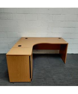 Beech left handed corner desk pedestal set- 1600 x 1200
