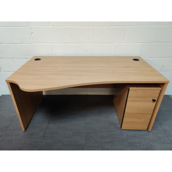 Oak wave left handed desk and pedestal set- 1600 x 800 x 1000