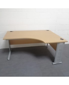 Beech right handed corner desk set with desk high pedestal- 1600 x 1200