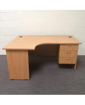 Beech left handed corner desk set with under pedestal- 1600 x 1200