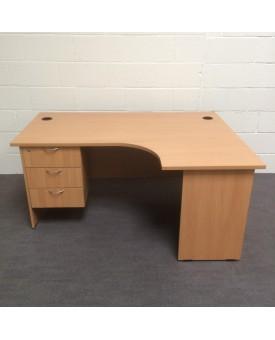 Beech right handed corner desk set with under pedestal- 1600 x 1200