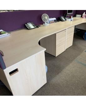 Maple left handed corner desk, pedestal and divider set- 1800 x 1200