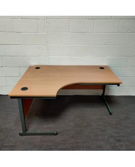 Beech left handed corner desk 1600 x 1200
