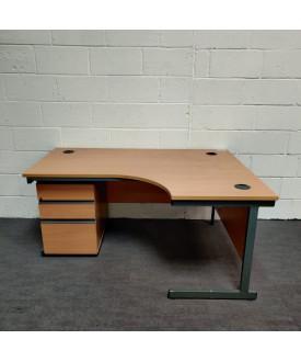 Beech right handed corner desk pedestal set- 1600 x 1200