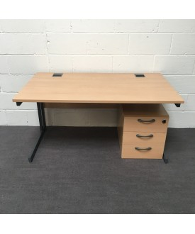 Beech straight desk - 1400 x 800- pedestal not included