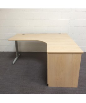 Maple right handed corner desk set with desk high pedestal- 1600 x 1200