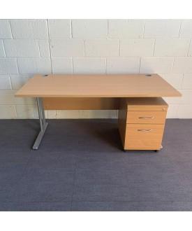 Beech straight desk and pedestal set- 1600 x 800