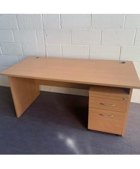 Beech straight desk and pedestal set- 1600 x 800